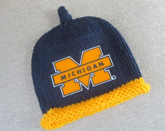 MICHIGAN Hand Knit Baby Hat - U of M Wolverines Baby Hat - Michigan Hand Knitted Baby Hat