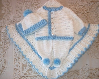 Crochet Baby Boy Outfit Layette Sweater Set in White and Blue with Leggings and Blanket  Perfect For Baby Shower Gift or Take Me Home outfit