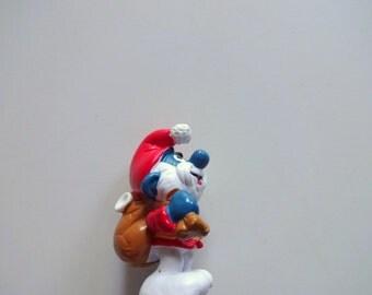 Vintage Santa Papa Smurf Miniature PVC Toy 1981
