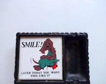 Vintage Hound Dog Ashtray 1970s