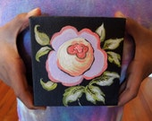 """Painting is a mini 4""""x4"""" Floral, Acrylic on a Wide Edge Canvas"""