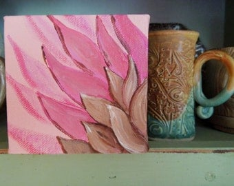 Pink Flower Painting is an Original One of a Kind on a Wide Edge Canvas