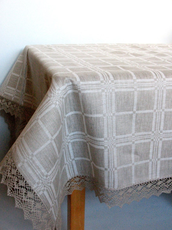 "Linen Tablecloth Checked Natural White Gray Linen Lace 100"" x 61"""