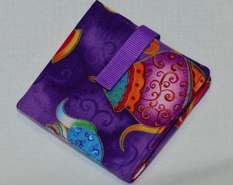 Tea Bag Wallet - Bright Teapots Tea Bag Wallet/Holder for Your Purse or Pocket