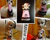 Monster High Inspired Doll Clothes -  Handmade Skull and Cross Bones Dress