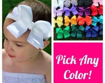 White Bow Headband - Baby Bows - Baby Bow Headband