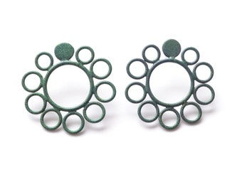 SALE 50 PERCENT OFF, circle post earrings in moss green, powdercoated recycled copper electric wires, simple studs, modern and minimalist