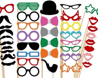 Photo Booth Props - 40 Piece Party Photo Props Set - Wedding PhotoBooth Props