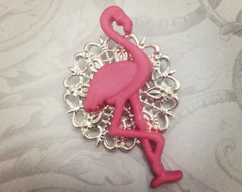 Pink flamingo brooch / pin