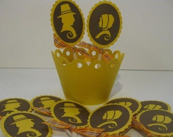 Thanksgiving Cupcake Toppers Pilgrims Yellow and Brown
