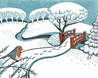 Snow, Bournemouth Gardens - Christmas Card from an original reduction linocut print