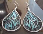 Beautiful Blue and Black Geometric Printed Thread Earrings Southwestern, Boho, Gypsy Geometric Belly Dancer, Native Great Gift Ready to Ship
