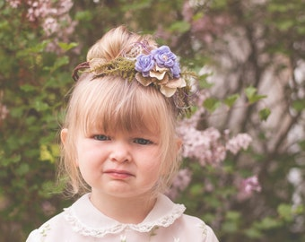 Flower Crown - Flowergirl hairpiece - Newborn Photo Prop - Wedding Crown - Floral Hairpiece