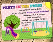 Girls Park Birthday Party Invitation Print Your Own