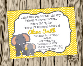 Elephant Baby Shower Invitation Print Your Own