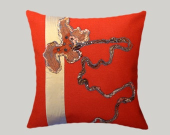 "Decorative Pillow Case, Red-Orange Thick Decorative fabric with felted Applique Flowers Throw pillow case, fits 18"" X 18"" insert, Toss case"
