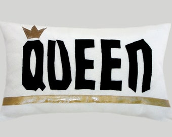 """White decorative fabric Lumbar pillow case with a Black color felt word  """"Queen"""" accent, fits 12""""x 20"""" insert"""