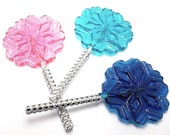 12 LARGE SNOWFLAKE LOLLIPOPS with Bling Sticks - Frozen Princess Party Lollipops