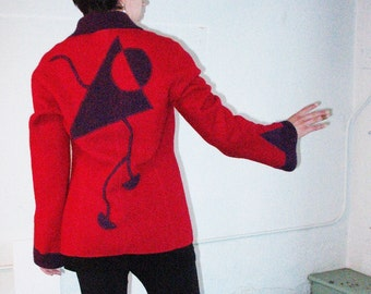wearable art jacket, boiled wool, refashioned upcycled eco friendly,