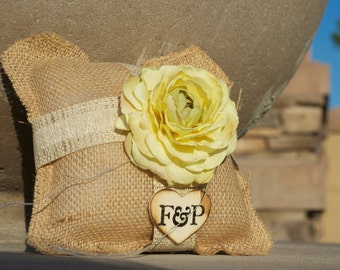 Yellow flower Burlap Ring Bearer Pillow with Vintage touch over 45 different flowers to select from