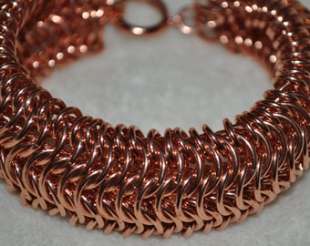Copper Chainmaille Cuff Bracelet