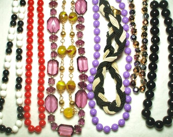 8 Vintage wearable Single strand beaded necklaces