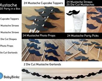 Large Mustache Party in a Box - Little Man Mustache Bash Decorations Party Package Set die cut mustache black