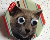 Cat WTF Googly Eye Magnet