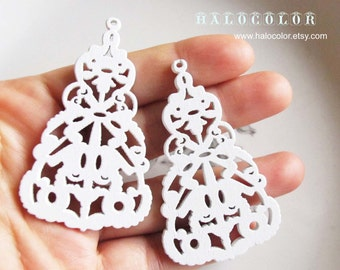 Painting Series  - 35x60mm Pretty White Long Symmetry Wooden Charm/Pendant MH256 04