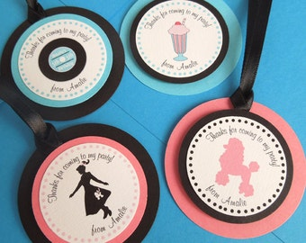 1950s Sock Hop Birthday Personalized Favor Tags (set of 12)