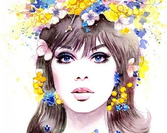 Watercolor Fashion Illustration - 60s Fashion Model Jean Shrimpton in Flower Wreath