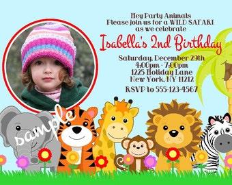 Jungle Safari Zoo animals your photo girl boy Birthday party, Custom Personalized Invitation -Digital File, DIY Printable File