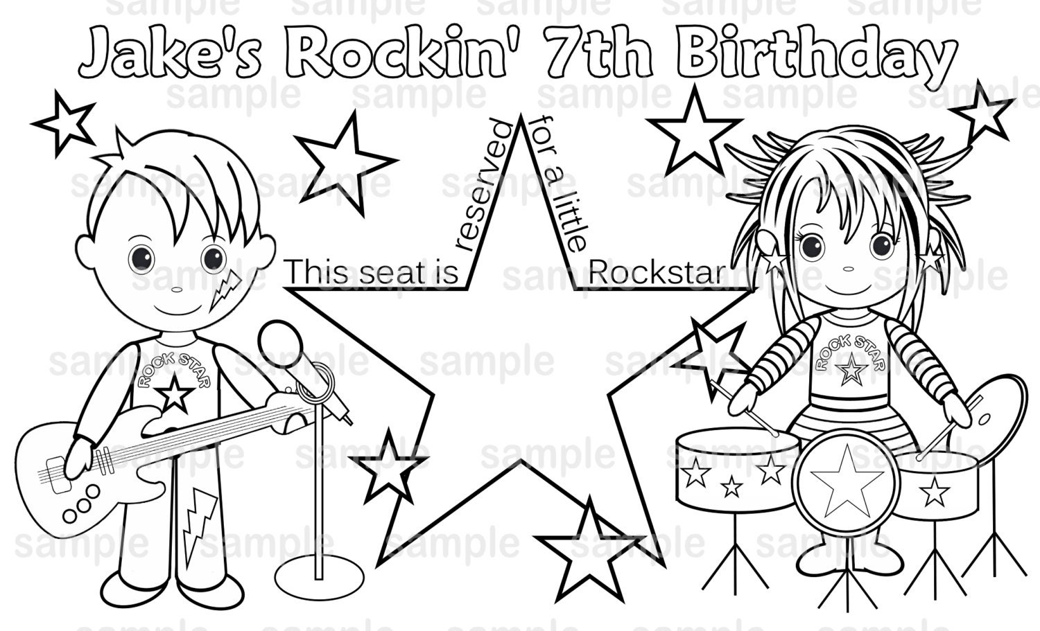 rockstar coloring pages printables | PRINTABLE Personalized Rockstar Diva Placemat Childrens