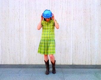 Vintage plaid  dress 1960s  1970s dropwaist