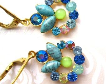 Blue and green earrings-vintage wreath components new and vintage Swarovski crystal Wreath earrings Blue and green dangle earrings vintage