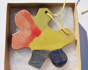 Puzzle Piece Ornament, Autism Awareness Puzzle Piece, Ceramic Hanging Autism Ornament, Hanging Ceramic Puzzle Piece, Hanging Autism Ornament