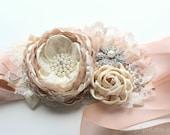 "Blush Champagne Ivory Sash ""Emma"" Wedding Ribbon Flower Sash/ Handmade Accessory"