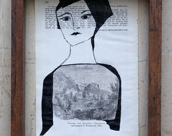 Pen drawing / illustration on vintage book page - Portrait of a Woman - One of Kind Original Drawing
