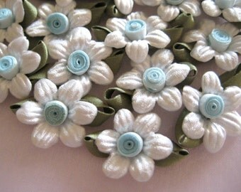 20 Pcs White Satin Flower Appliques Baby Blue Ribbon Center with Dark Green Leaves for Crafting, Sewing, Doll Clothes, 1 inch
