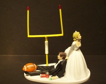 NO FOOTBALL Bride and Groom Wedding Cake Topper Field Goal TOUCHDOWN