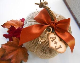Burlap Pumpkin Ring Bearer Pillow / Fall Wedding / Wedding Decor / Wedding Supplies / Burlap Wedding / Ring Bearer Pillow / Wedding Pillow