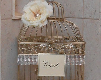 Large Birdcage Wedding Card Holder / Champagne Gold Birdcage / Wedding Box / Elegant Wedding / Gold Birdcage / Wedding Cardholder