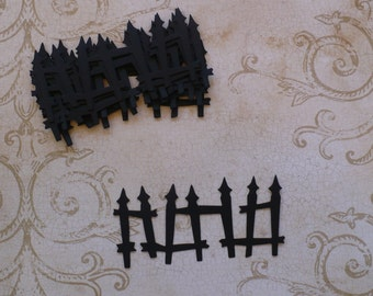 10 Sizzix Rickety Fence  Halloween Die cuts for crafts Scrapbooking card making from cardstock black