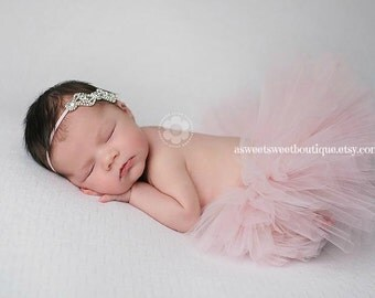 Sweet Sparkle Baby Couture Tutu Set Custom Made With Matching Bling Headband Beautiful Newborn Photo Prop Many Colors Available