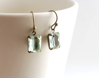 Dainty Mint Earrings, Mint Green Earrings, Light Green Jewel Earrings, Old Hollywood Jewelry, Emerald Cut Jewelry, Antique Brass Earrings