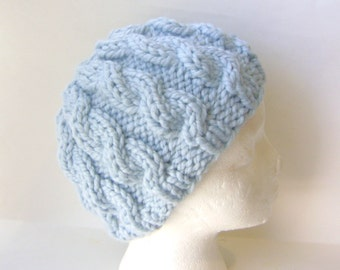 Cable Knit Hat for Women, Soft Wool Blend Beanie in Light Blue