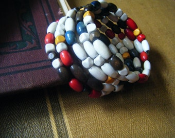 Vintage wooden beads memory wire bracelet, recycled beads