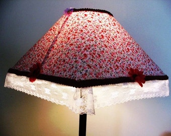 Square Floral Table  Lampshade -Kids Room lighting  - Table- Desk Lamp Chilfren Room Decoration