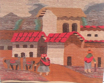 Vintage Peruvian Wall Hanging/Tapestry, Andes Village Scene,Latin American Folk Art,Home Decor, Textile,Wool