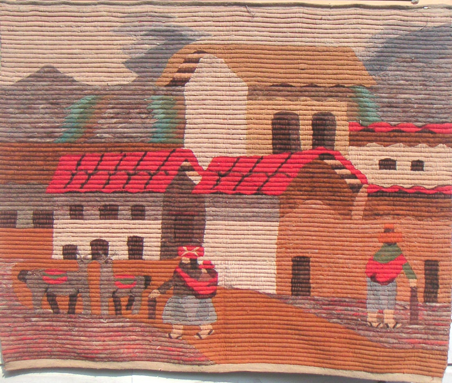 Vintage Peruvian Wall Hanging Tapestry Andes Village By